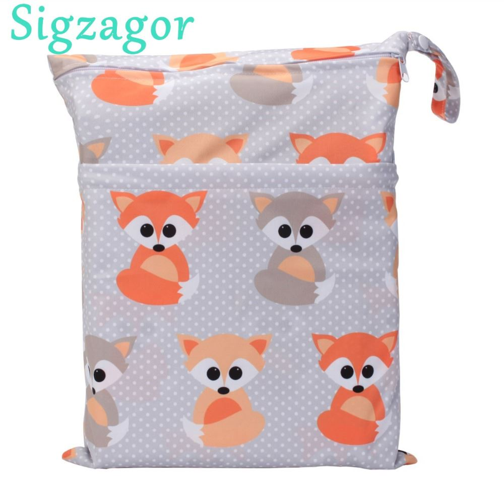Sigzagor Medium Wet Dry Bag Baby Cloth Diaper Nappy Insert Bag Reusable Washable With Two Zippered Pockets
