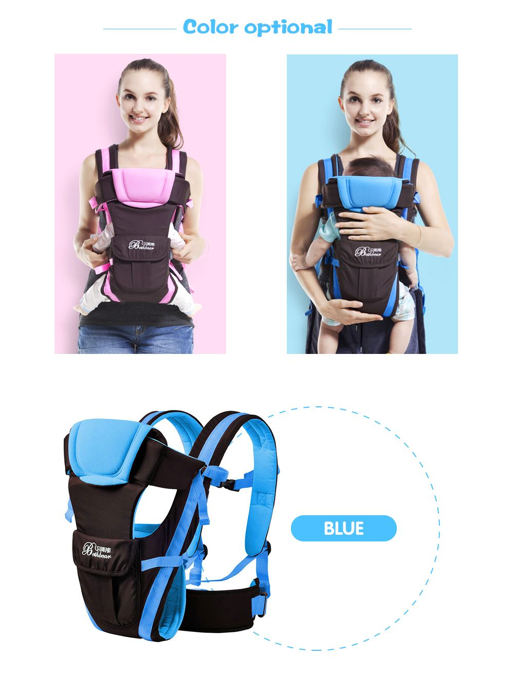 0-30 Months Breathable Front Facing Baby Carrier 4 in 1 Infant Comfortable Pack