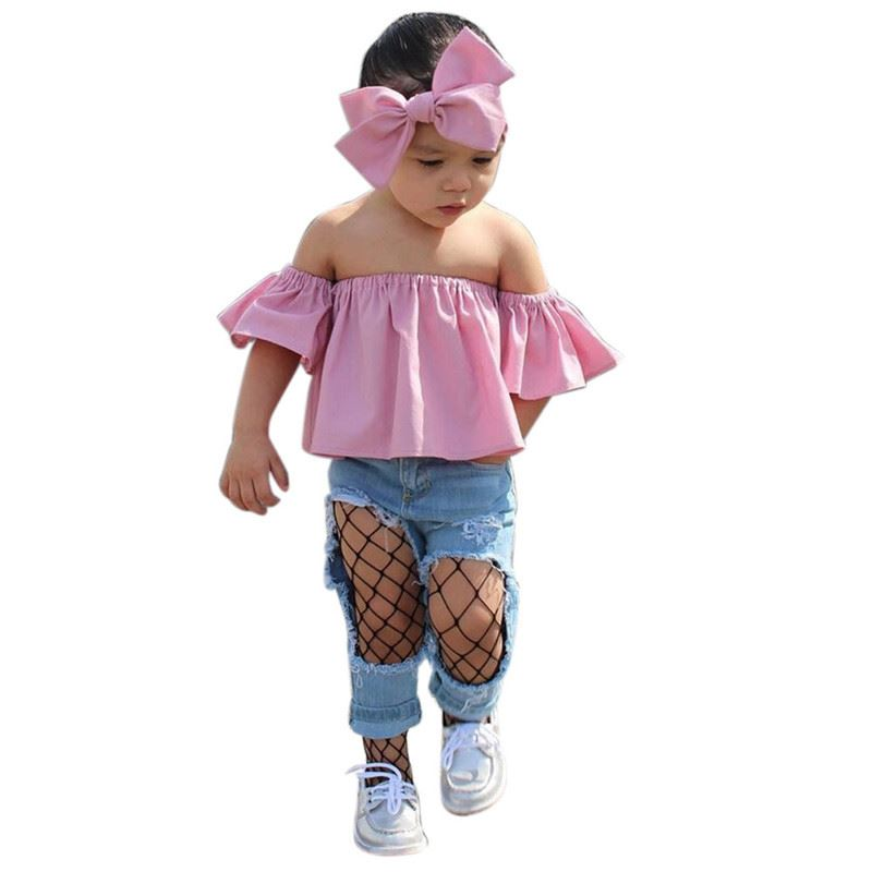 Baby Kids Girls Off Shoulder Ruffle Sleeve Solid Tops Shirt Clothes Outfits XI